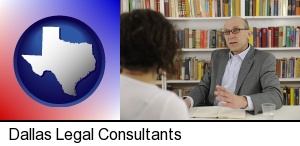 Dallas, Texas - a legal consultant conversing with a client